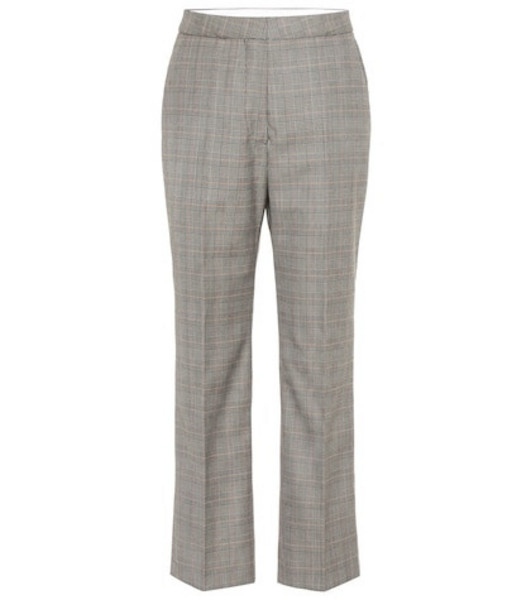 Stella McCartney High-rise checked wool pants in black