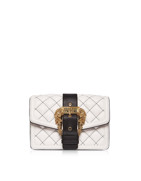 Versace Jeans Couture Quilted Nappa Leather Crossbody Bag W/ Buckle in white
