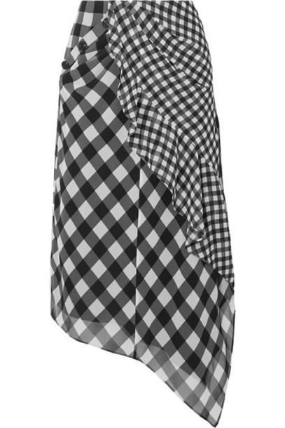 Self-Portrait - Asymmetric Draped Gingham Chiffon Midi Skirt - Black