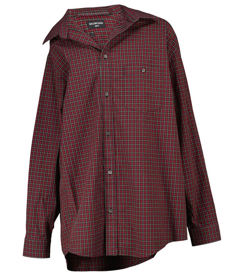 Balenciaga Off-shoulder tartan cotton poplin shirt in red
