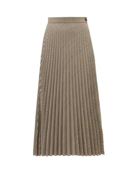 Mm6 Maison Margiela - Glen Plaid Pleated Midi Skirt - Womens - Beige