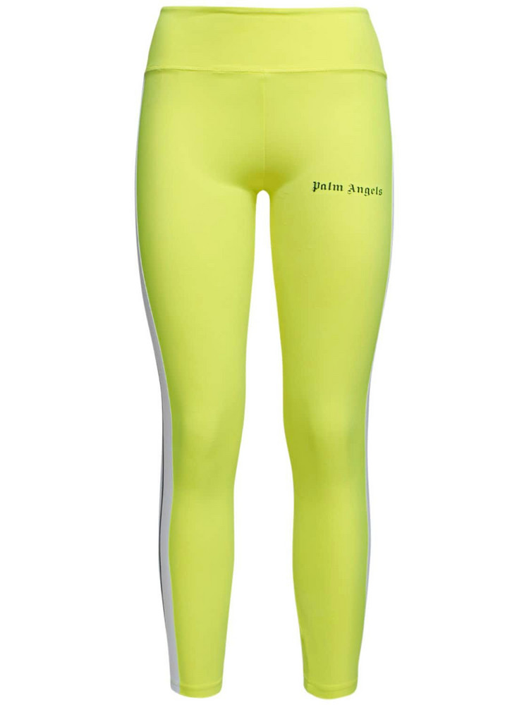 PALM ANGELS Side Band Jersey Track Leggings in yellow