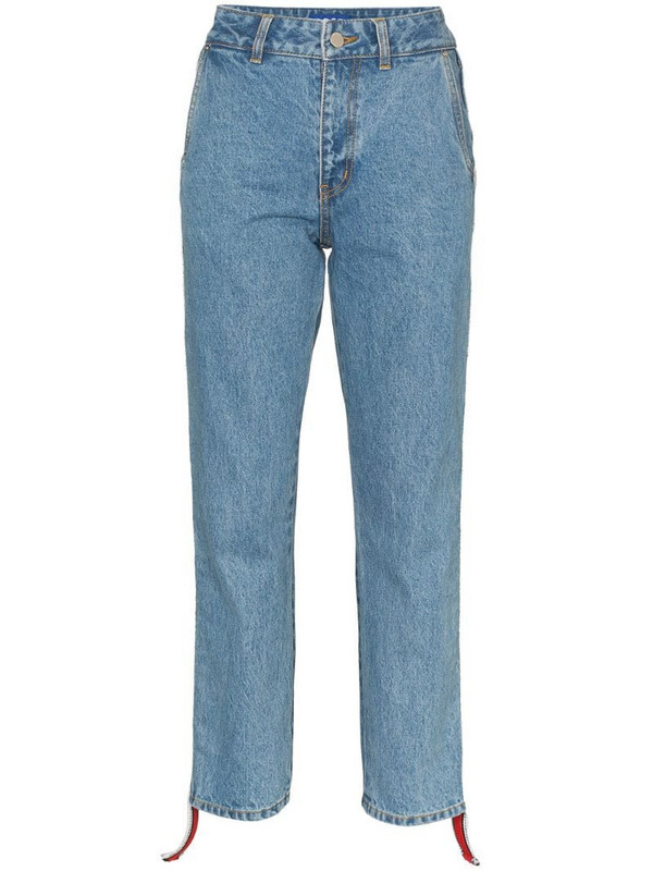 Ader Error side-stripe cropped jeans in blue