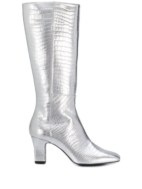 Les Petits Joueurs metallic pointed boots in silver