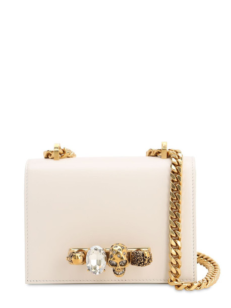 ALEXANDER MCQUEEN Embellished Leather Shoulder Bag in ivory