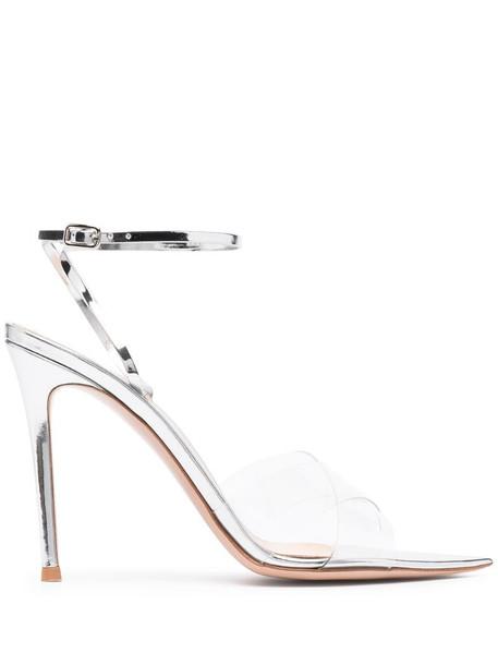 Gianvito Rossi metallic strappy sandals in silver