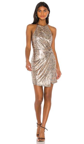 J.O.A. J.O.A. Halter Wrap Mini Dress in Metallic Gold