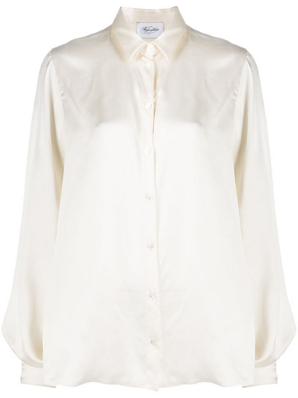 Redemption balloon-sleeve silk blouse in neutrals
