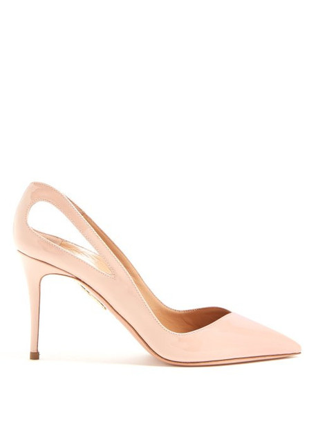 Aquazzura - Shiva 85 Patent Leather Pumps - Womens - Nude