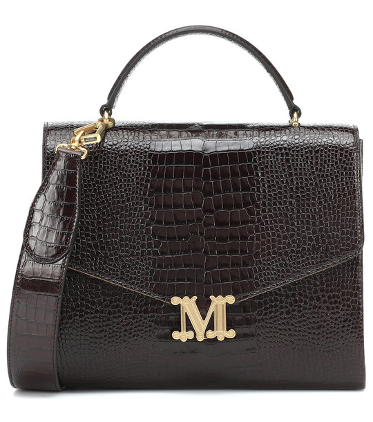 Max Mara Linda croc-effect leather shoulder bag in brown