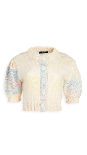 En Saison Ombre Cardigan Top With Puff Sleeves in multi