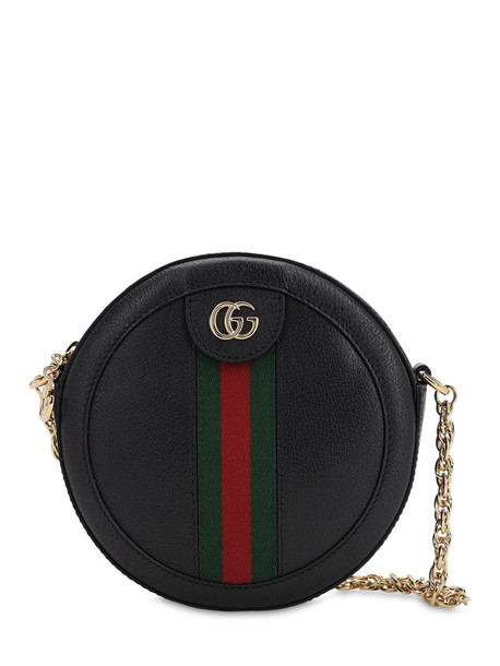 GUCCI Mini Ophidia Round Leather Bag in black