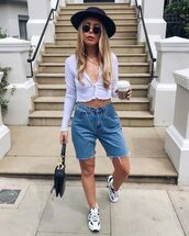 top,white top,crop tops,nastygal,denim shorts,High waisted shorts,sneakers,dior bag,hat