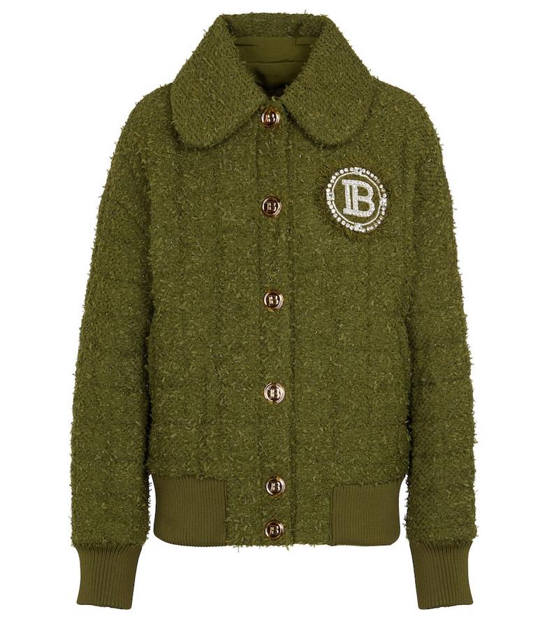 Balmain Bouclé bomber jacket in green
