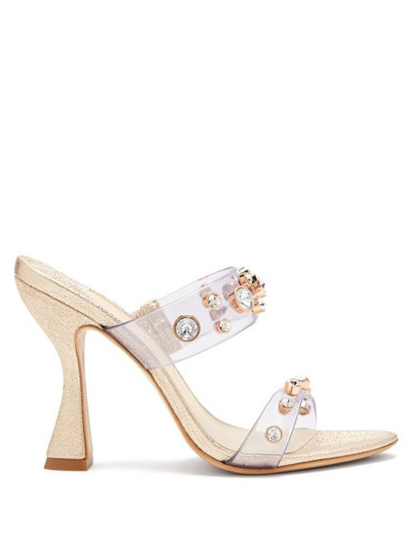 Sophia Webster - Dina Glitter And Gem-embellished Mules - Womens - Light Gold