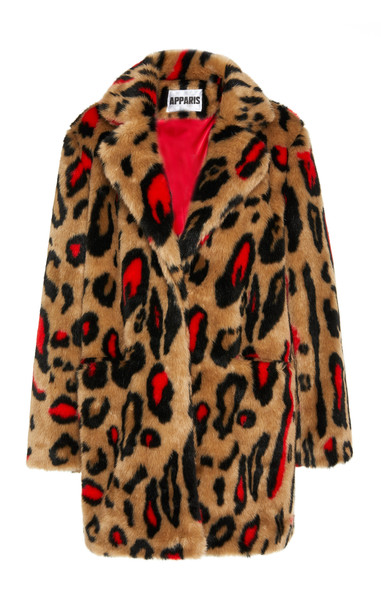 Apparis Ness Printed Faux Fur Coat Size: M in red