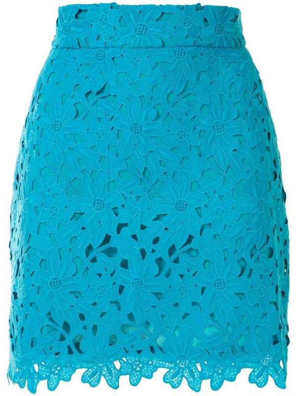 Bambah lace crochet mini skirt in blue