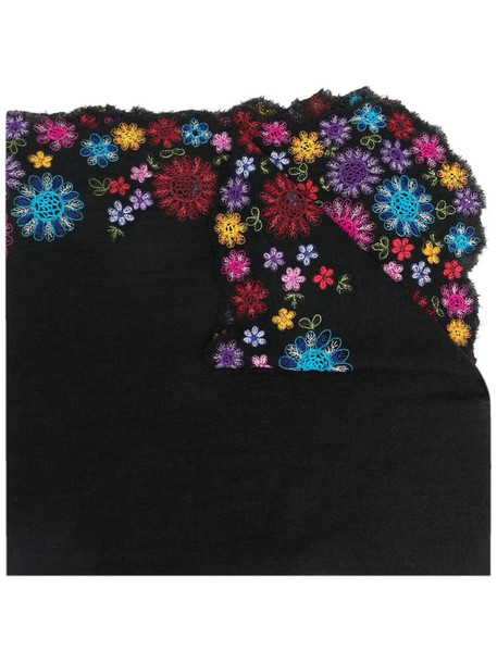 Faliero Sarti floral-embroidered scarf in black