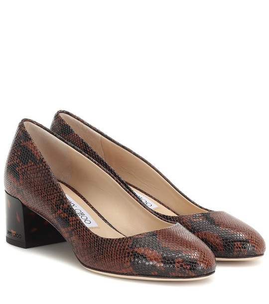 Jimmy Choo Jessie 40 snake-effect leather pumps in brown