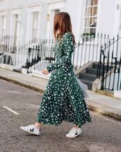 dress,green dress,floral dress,shirt dress,long sleeves,belted dress,white sneakers