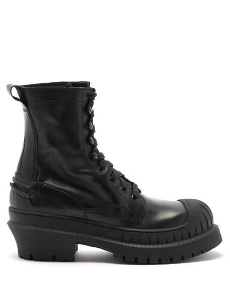 Acne Studios - Bryant Lace-up Leather And Rubber Boots - Womens - Black