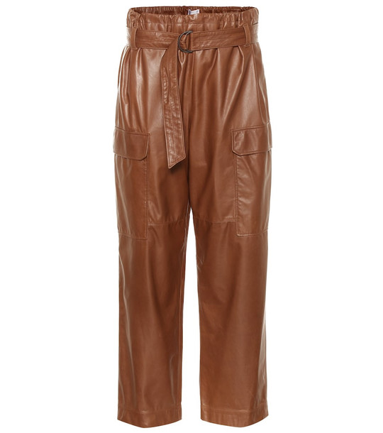 Brunello Cucinelli High-rise cropped leather pants in brown
