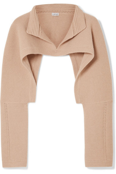 Loewe - Cropped Wool And Cashmere-blend Sweater - Beige