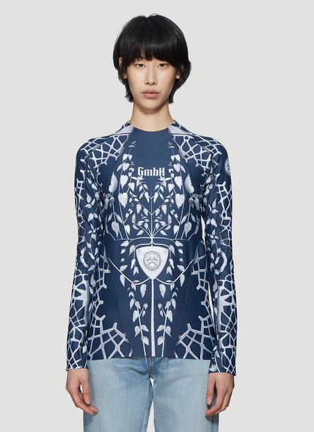GmbH Printed Long Sleeve Top in Blue size XS