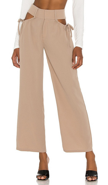 superdown Benny Cut Out Pants in Nude in khaki