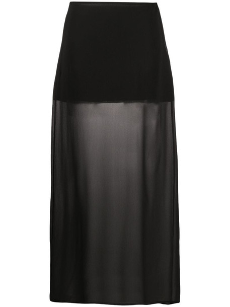 Jil Sander Pre-Owned 1990s semi-sheer long skirt in black