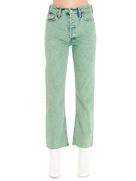 Mother tripped Crop Fray Jeans in green