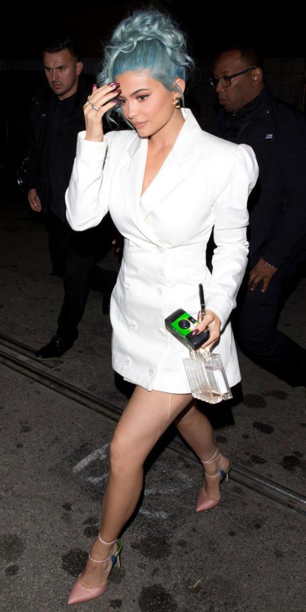 dress white blazer blazer dress kylie jenner kardashians mini dress pumps