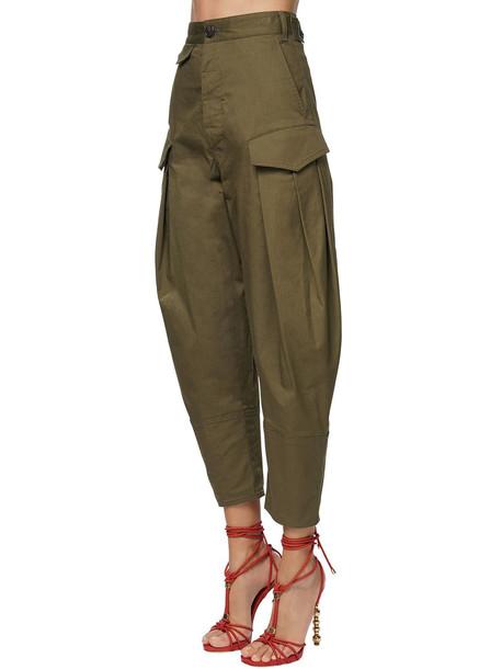 DSQUARED2 High Waist Poplin Pants in green