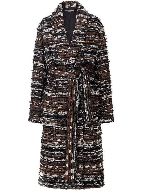 Dolce & Gabbana belted tweed robe-style coat in brown