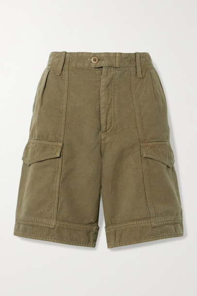 Citizens of Humanity - Lily Cotton And Linen-blend Twill Shorts - Army green