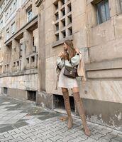 skirt,wrap skirt,mini skirt,over the knee boots,turtleneck sweater,leather jacket