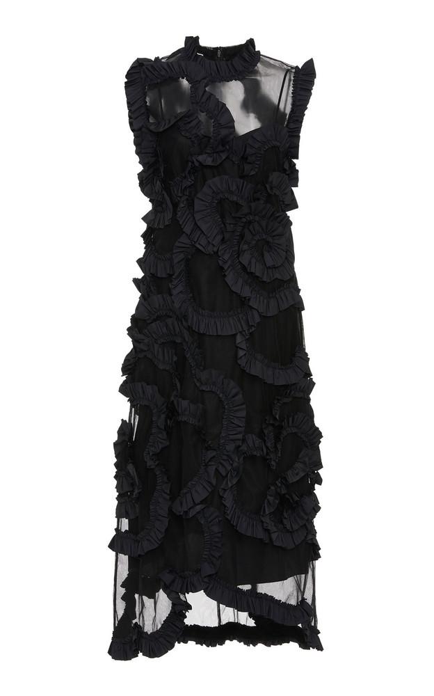 Moncler Genius + Simone Rocha Ruffled Silk-Chiffon Midi Dress in black