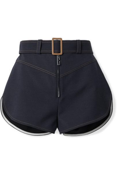 Ellery - Monumental Belted Woven Shorts - Midnight blue