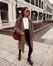 coat,plaid,double breasted,lace up boots,black skinny jeans,shoulder bag,pull and bear,white t-shirt,brown bag