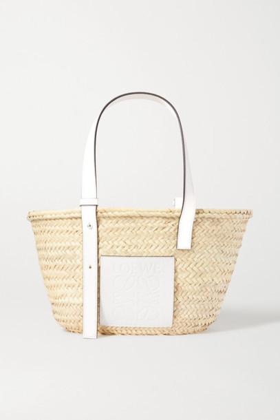 Loewe - Medium Leather-trimmed Raffia Tote - White