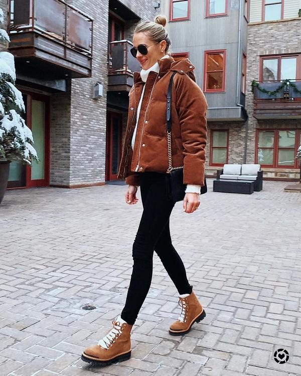 jacket puffer jacket ankle boots black skinny jeans white sweater turtleneck black bag