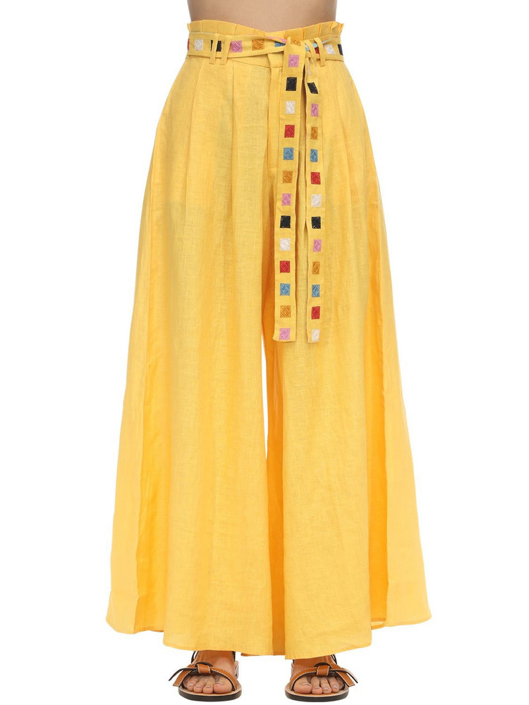 CAROLINA K Palo Linen Palazzo Pants in yellow
