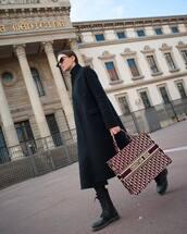 bag,handbag,dior bag,black boots,combat boots,black pants,black coat,long coat,black turtleneck top,sunglasses
