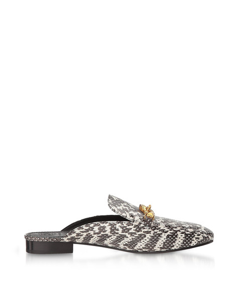 Tory Burch Black And White Roccia Embossed Leather Jessa Backless Loafer