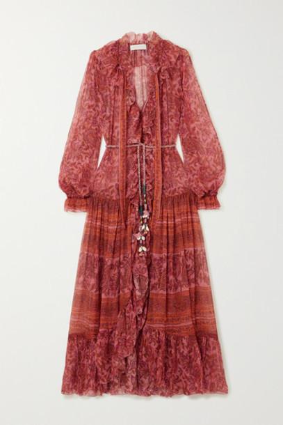 Zimmermann - Edie Embellished Printed Silk-chiffon Maxi Dress - Peach