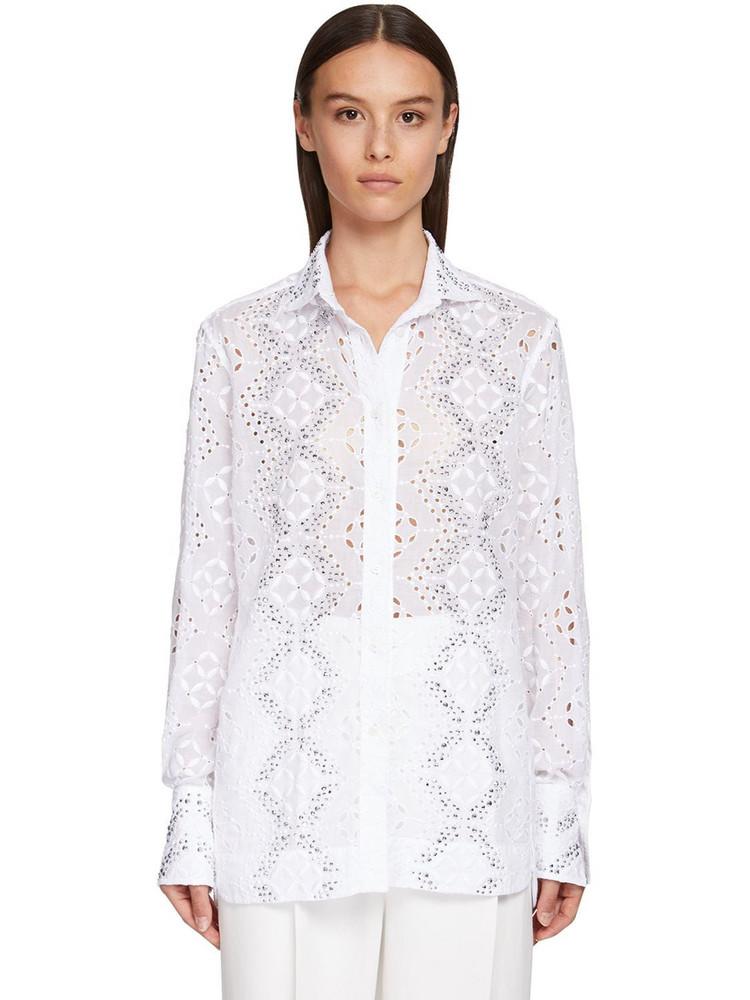 ERMANNO SCERVINO Embellished Eyelet Lace Shirt in white