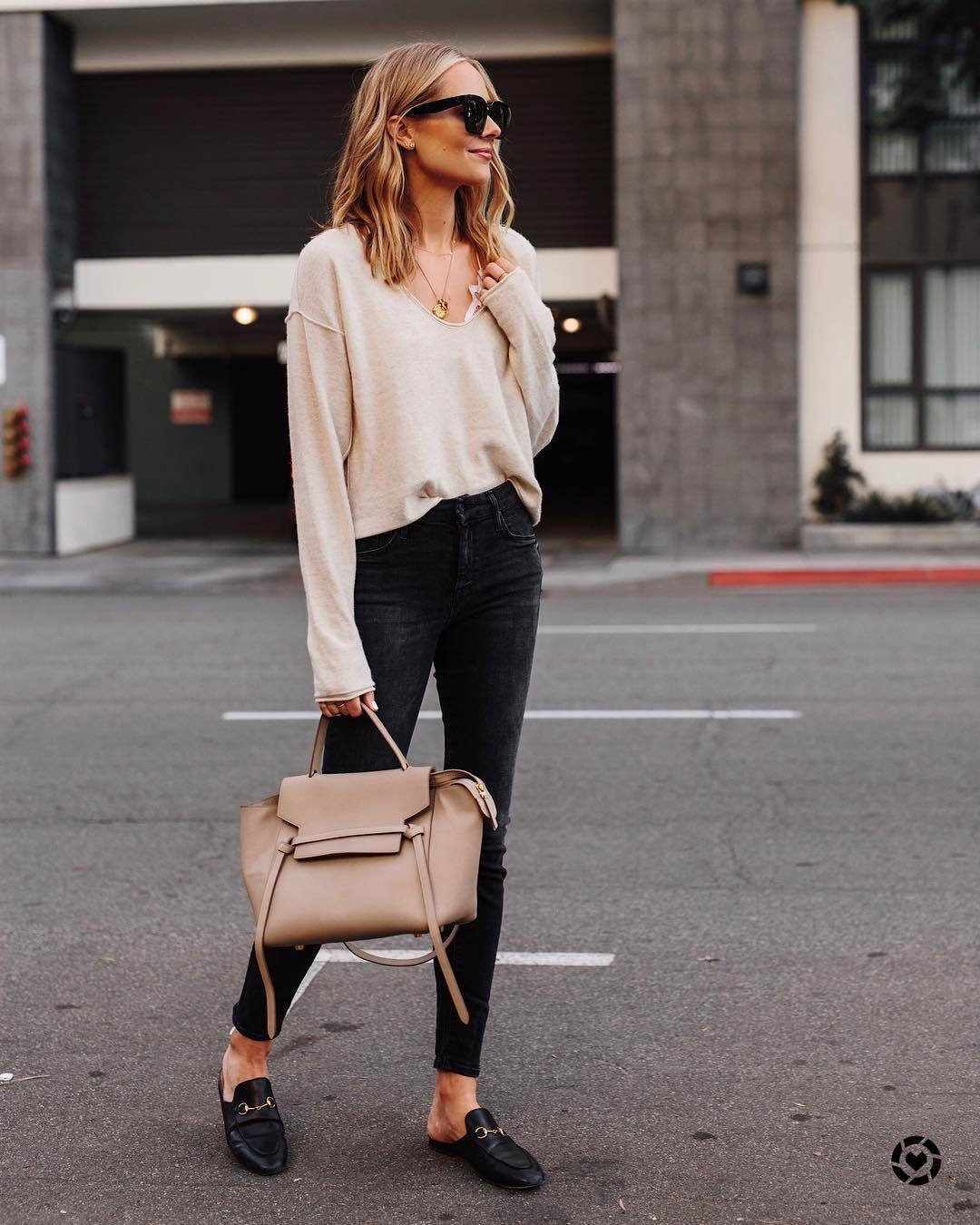sweater knitted sweater cashmere jumper v neck black loafers mules shoulder bag black skinny jeans lace bralette