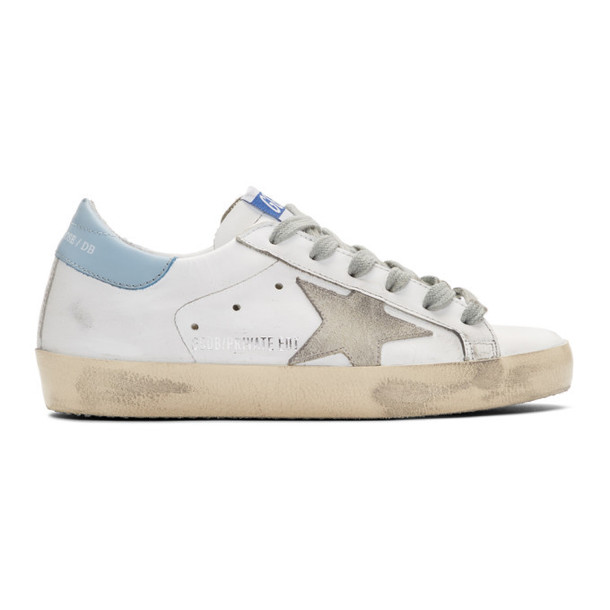 Golden Goose SSENSE Exclusive White and Blue Superstar Sneakers