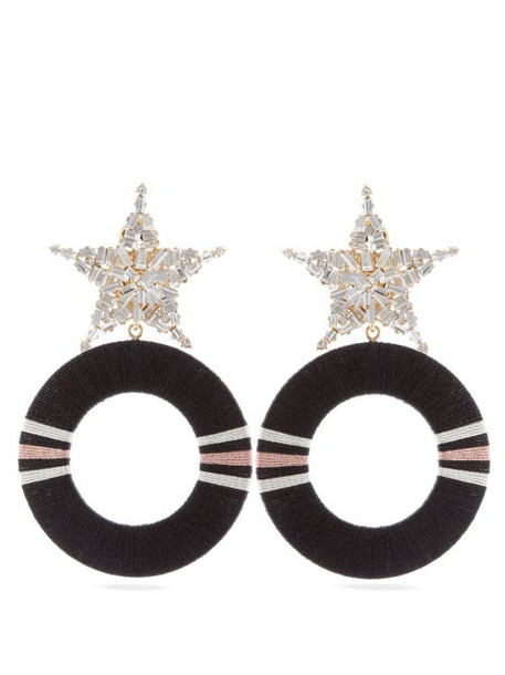 Maryjane Claverol - Gamma Star Stud Crystal Embellished Hoop Earrings - Womens - Pink Multi