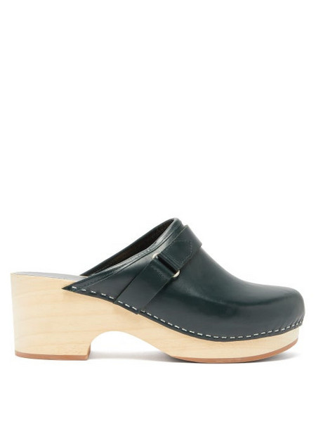 A.P.C. A.p.c. - Sabot Coline Backless Leather Clogs - Womens - Dark Green